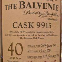 (現貨) The BALVENIE 40 years Single Cask 百富 40年 單桶 經典逸品 (700ml 48%)