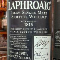 (現貨) LAPHROAIG 1981 27 years Sherry Cask 拉佛格 1981 27年 雪莉桶 原酒 (700ml 56.6%)