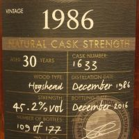 Chieftain's 30yr 1986 Naturel Cask Strength 老酋長 1986 30年 單桶原酒 (45.2% 30ml)
