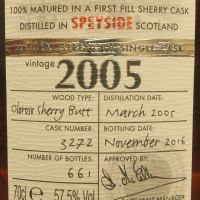 Chieftain's 2005 80th First Fill Oloroso 老酋長 2005 雪莉桶單桶 原酒 (58.7% 30ml)