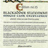 Blackadder - Macallan 27yr 1989 Single Cask 黑蛇 麥卡倫 27年 1989單桶 台灣限定版 (49.1% 30ml)