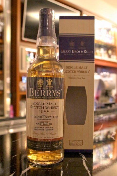 BERRYS' Littlemill 1988 24 years 貝瑞 小磨坊 24年 單桶原酒 (700ml 52.3%)