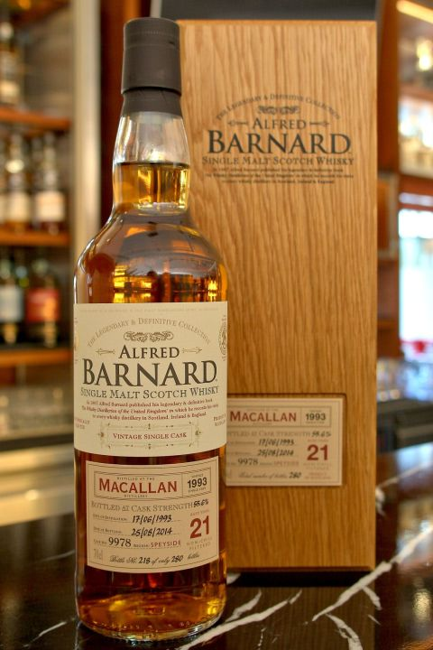 (現貨) ALFRED BARNARD Macallan 1993 21 years Single Cask 麥卡倫 1993 21年 單桶原酒 (700ml 55.6%)