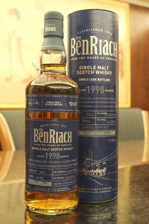 (現貨) BenRiach 1998 18 years Exclusively for Taiwan 班瑞克 1998 18年 雪莉單桶 台灣限定 (700ml 57.7%)