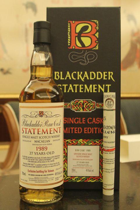 (現貨) Blackadder Raw Cask - Macallan 1989 27 years 黑蛇 麥卡倫 27年 (700ml 49.1%)