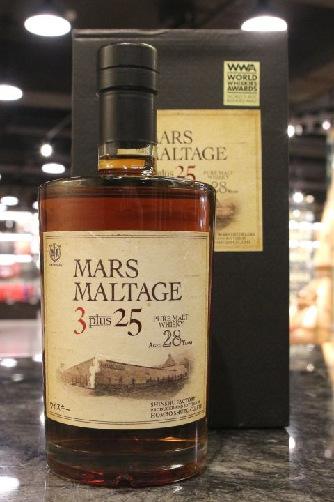 (現貨) Mars Maltage 3 Plus 25 Years Pure Malt 本坊酒造 28年 3+25 WWA世界最佳調和麥芽獎 (700ml 46%)