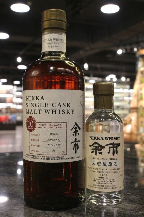 (現貨) Yoichi 2004 10 Years Single Cask & New Filling 余市10年單桶 & 酒心 (750ml / 59% + 180ml / 65%)