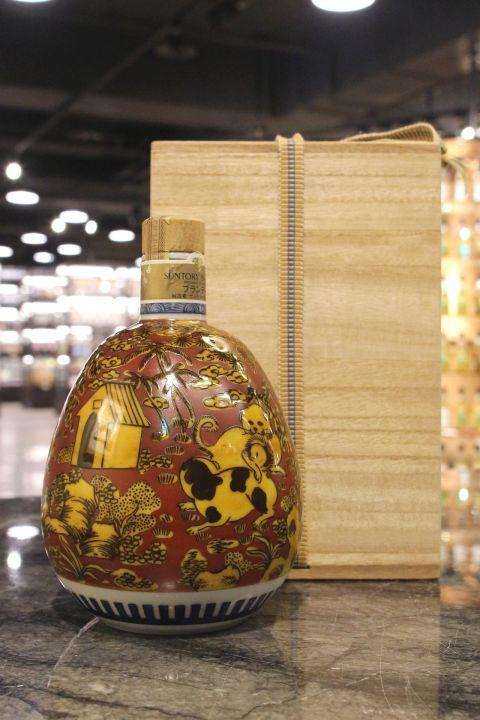 Suntory Brandy Ceramic Bottle 三得利 白蘭地 九谷燒 蕪型紅地黃彩犬遊文 (600ml 40%)