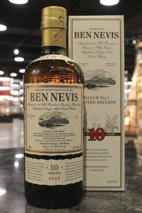 (現貨) Ben Nevis 2008 10 Years Limited Edition 班尼富 三桶 10年原酒 限量版 (700ml 62.4%)
