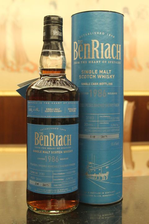 BenRiach 30yr 1986 Peated Pedro Ximénez 班瑞克 30年 泥煤PX雪莉單桶 (55.6% 30ml)