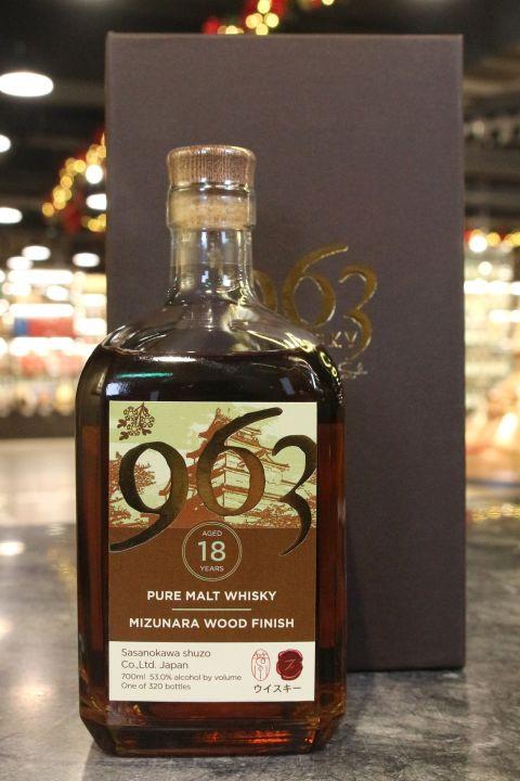 Sasanokawa 963 18 Years Mizunara Wood Finish 笹之川酒造 18年 水楢風味桶  純麥威士忌 (53% 30ml)